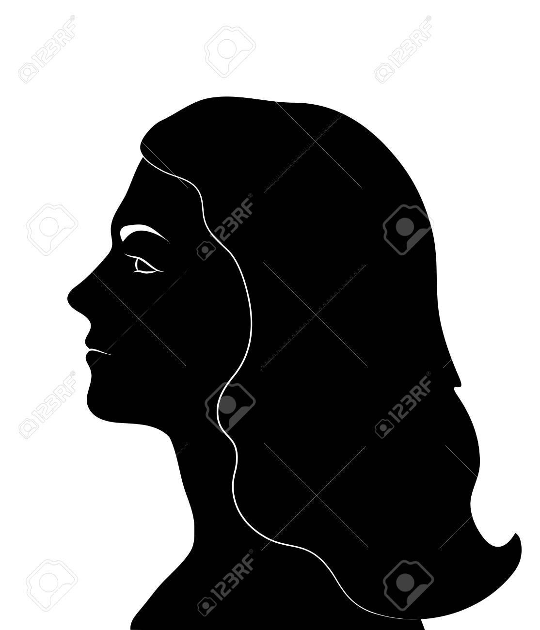 Female profile. Woman Face black silhouette. Vector illustration..