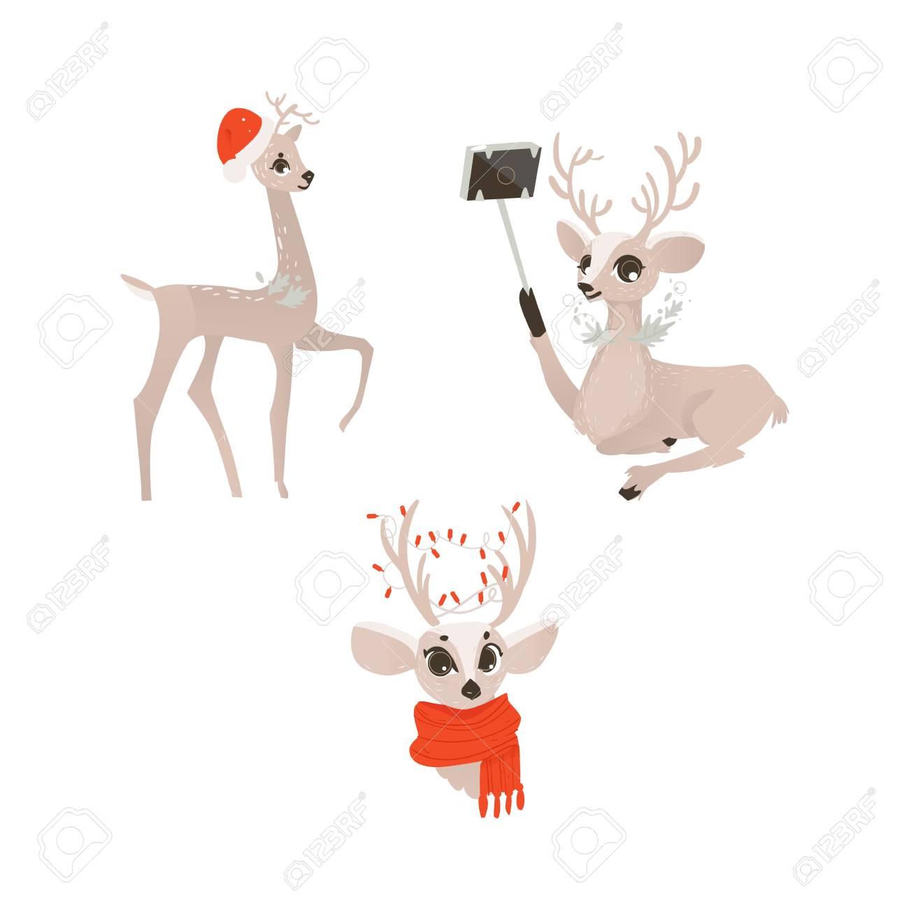 vector flat cartoon cute female christmas reindeer in red scarf...