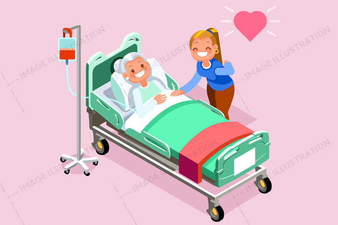 Retirement Home Isometric People Vector.