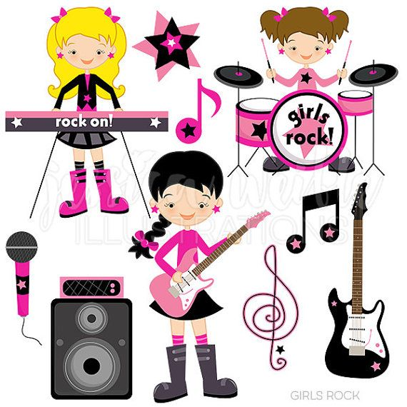Girls Rock Cute Digital Clipart.