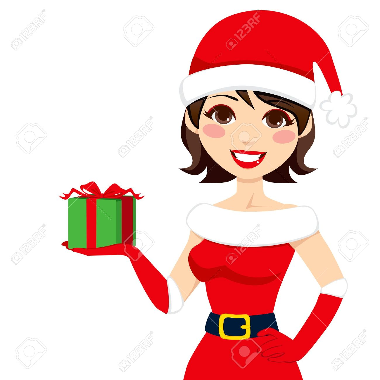 Beautiful woman in Santa Claus clothing holding Christmas present...