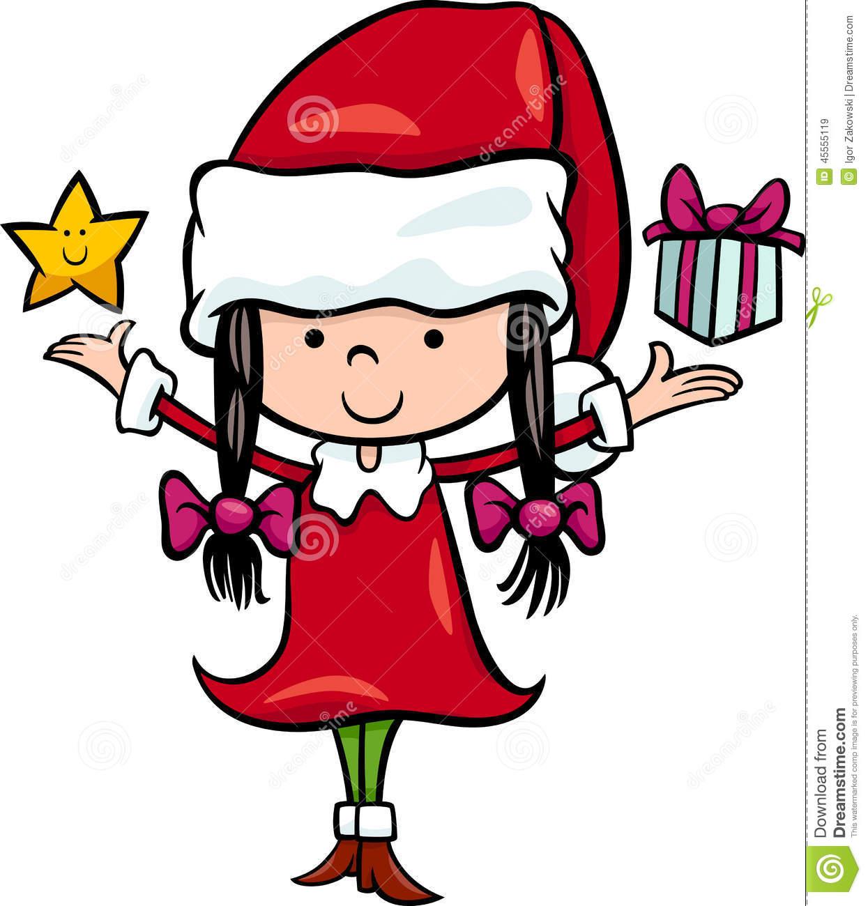 Santa Claus Girl Cartoon Illustration Stock Vector.