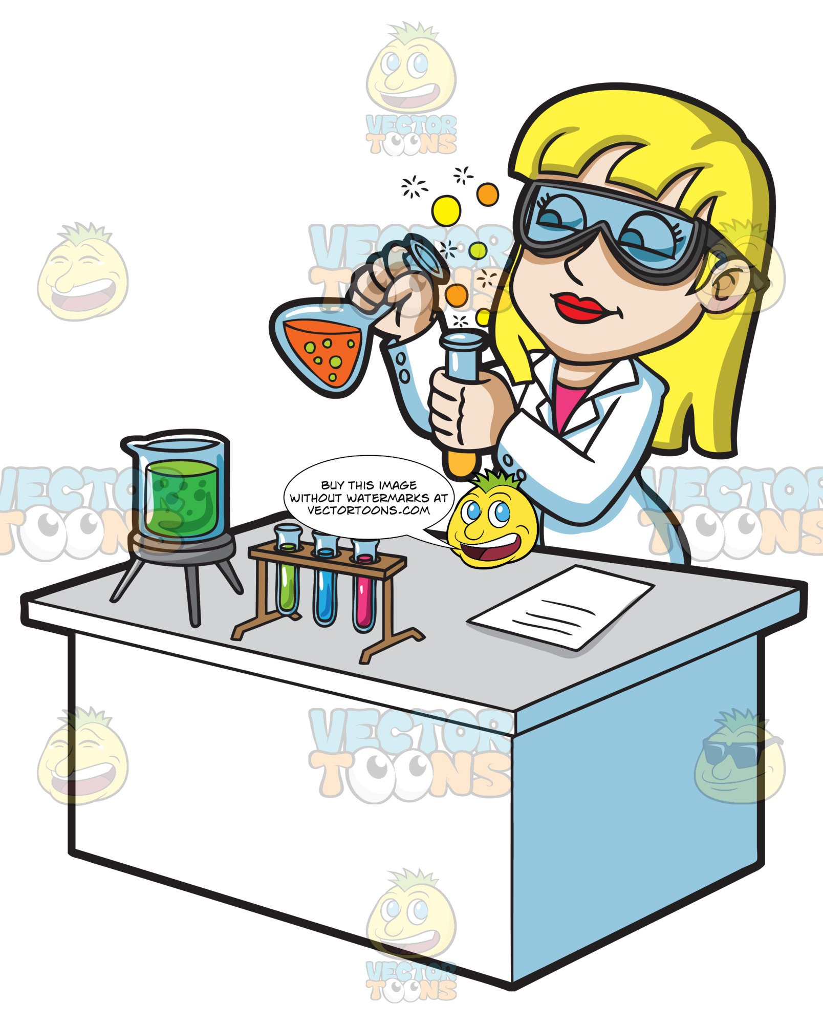 A Female Scientist Mixing Chemicals.