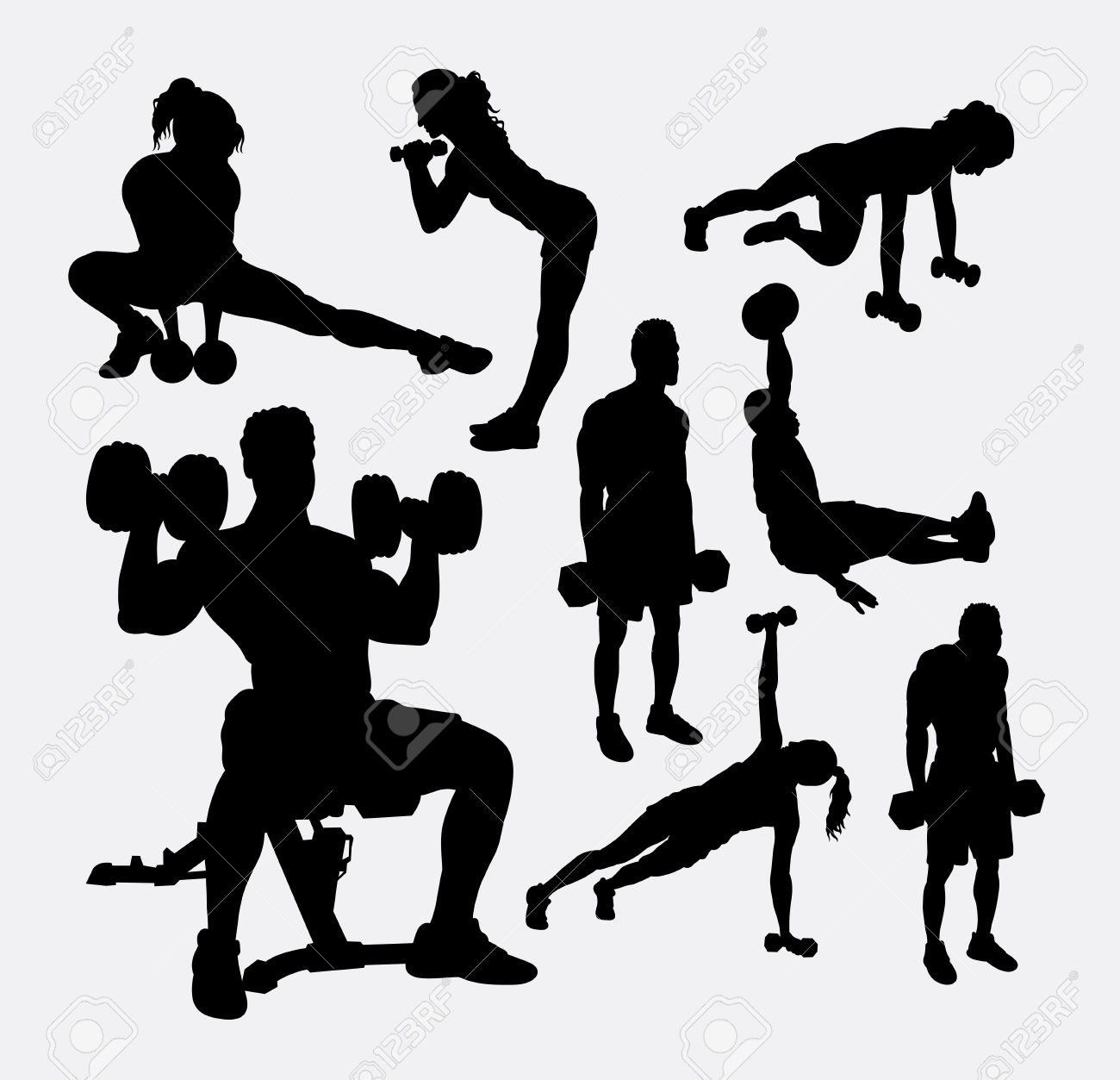 Training Exercise Sport Male And Female Silhouette. Good Use.