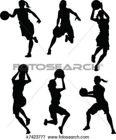 Clip Art of Basketball Female Women Silhouettes k7423777.