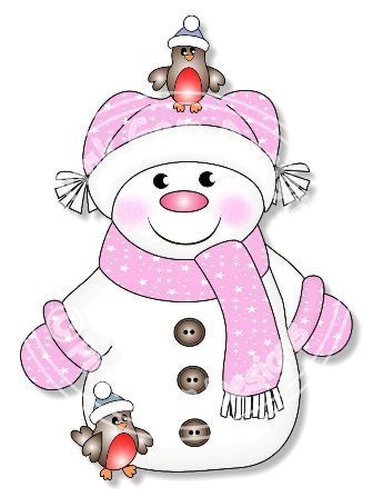 CHRISTMAS GIRL SNOWMAN IN PINK CLIP ART.