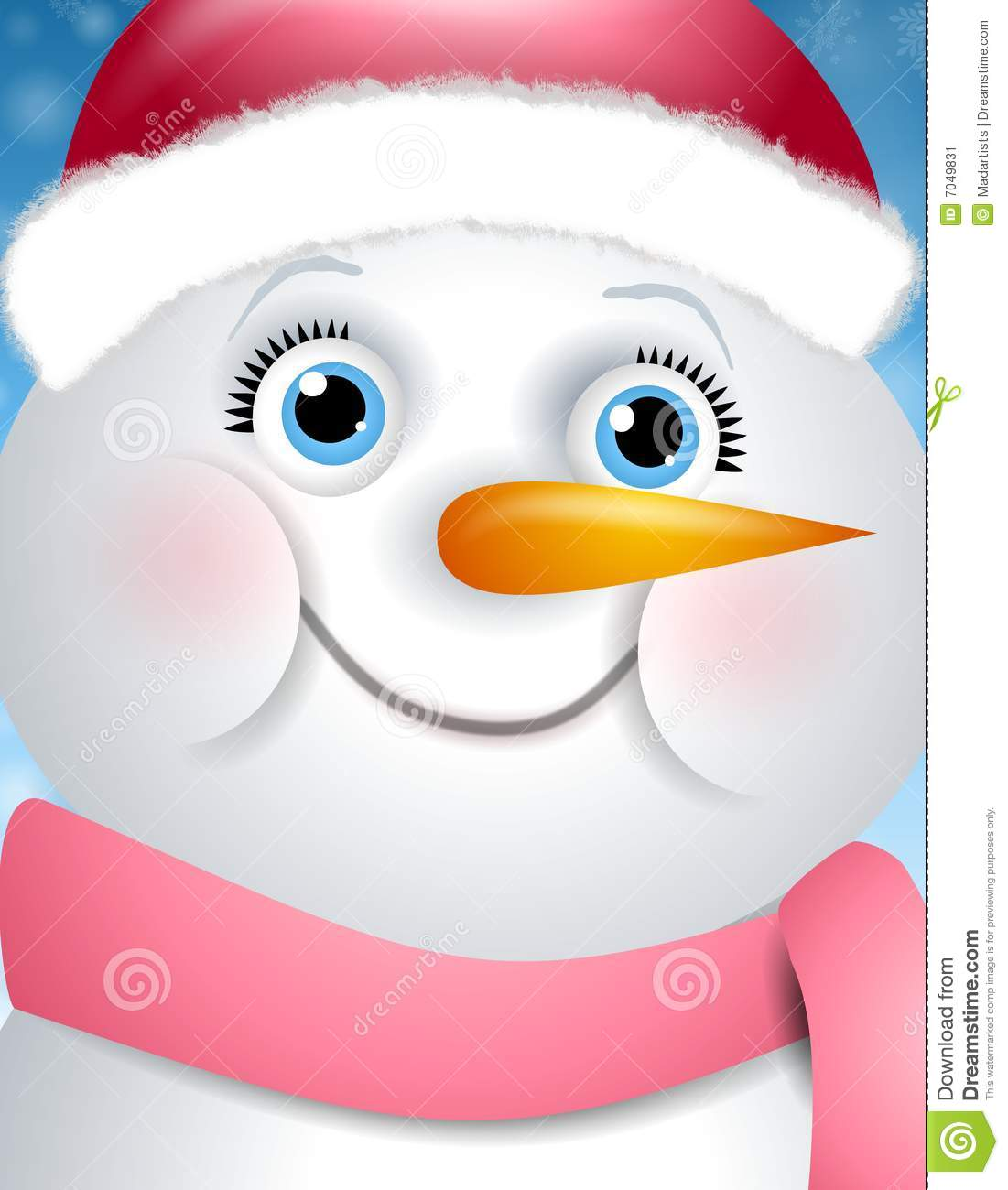 Happy Snowman Girl Face stock illustration. Illustration of female.