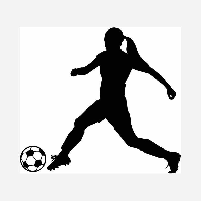 Female Soccer Player INSTANT DOWNLOAD 1 vector .eps, svg, & a .png Vinyl  Cutter Ready, T.