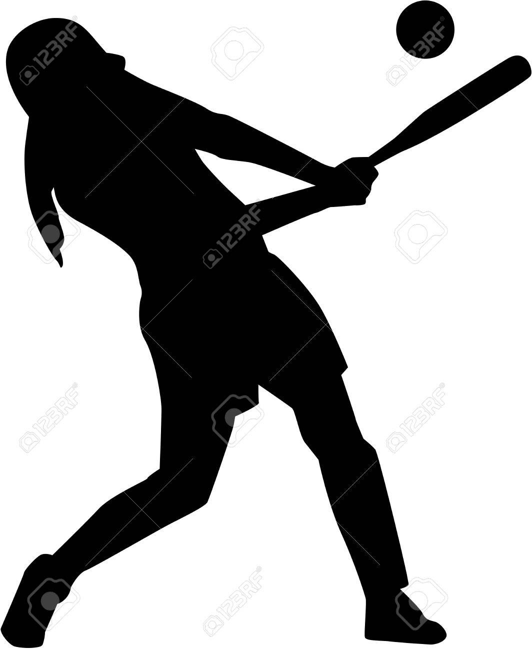 Softball batter woman silhouette.
