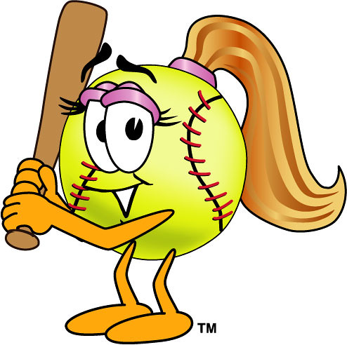 Clipart Illustration of Female Softball with Bat.