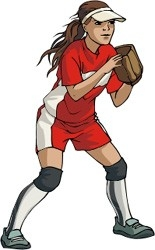 Girl Softball Player Clipart.
