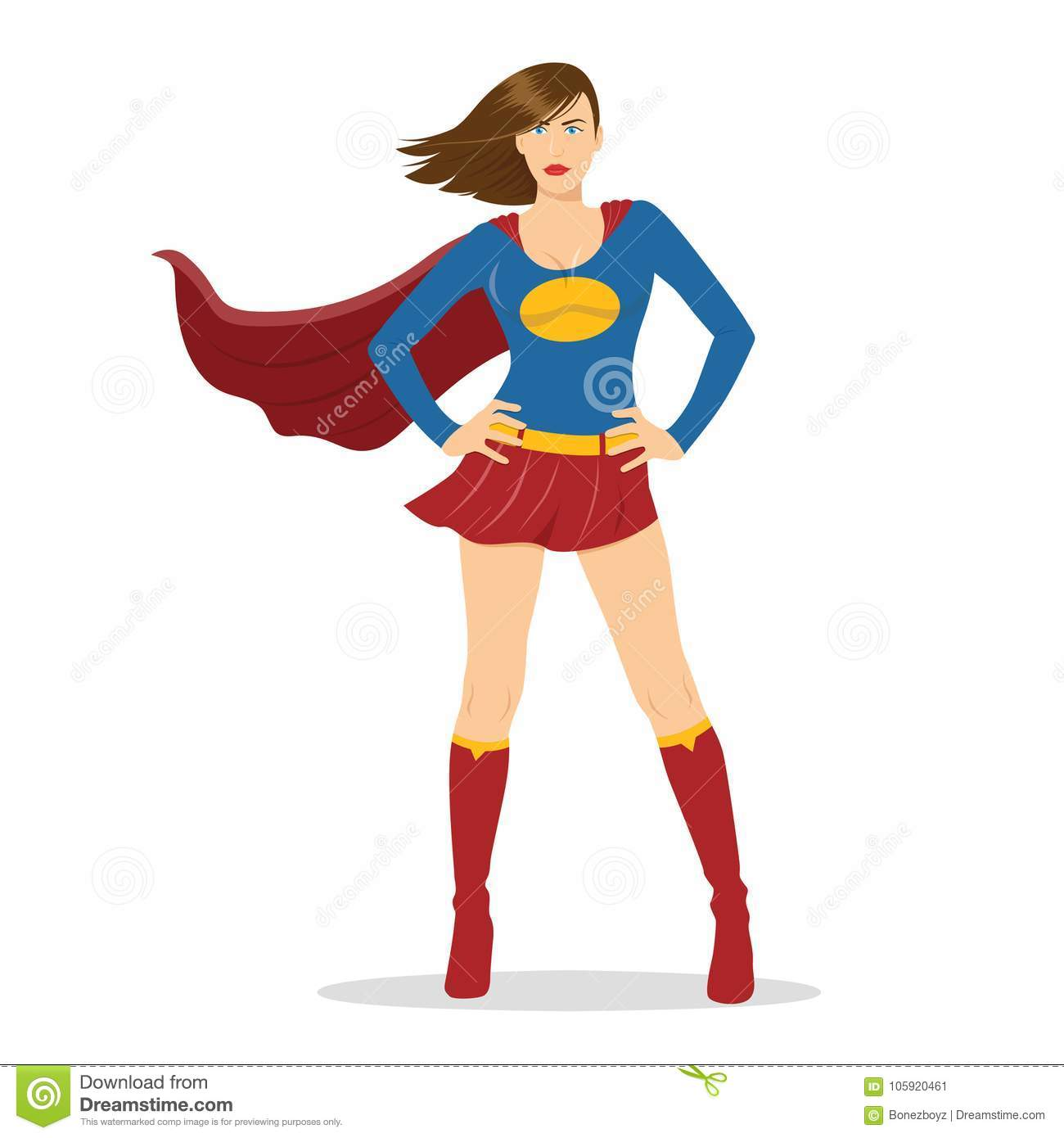Female Superhero Standing With Cape Waving In The Wind Stock Vector.