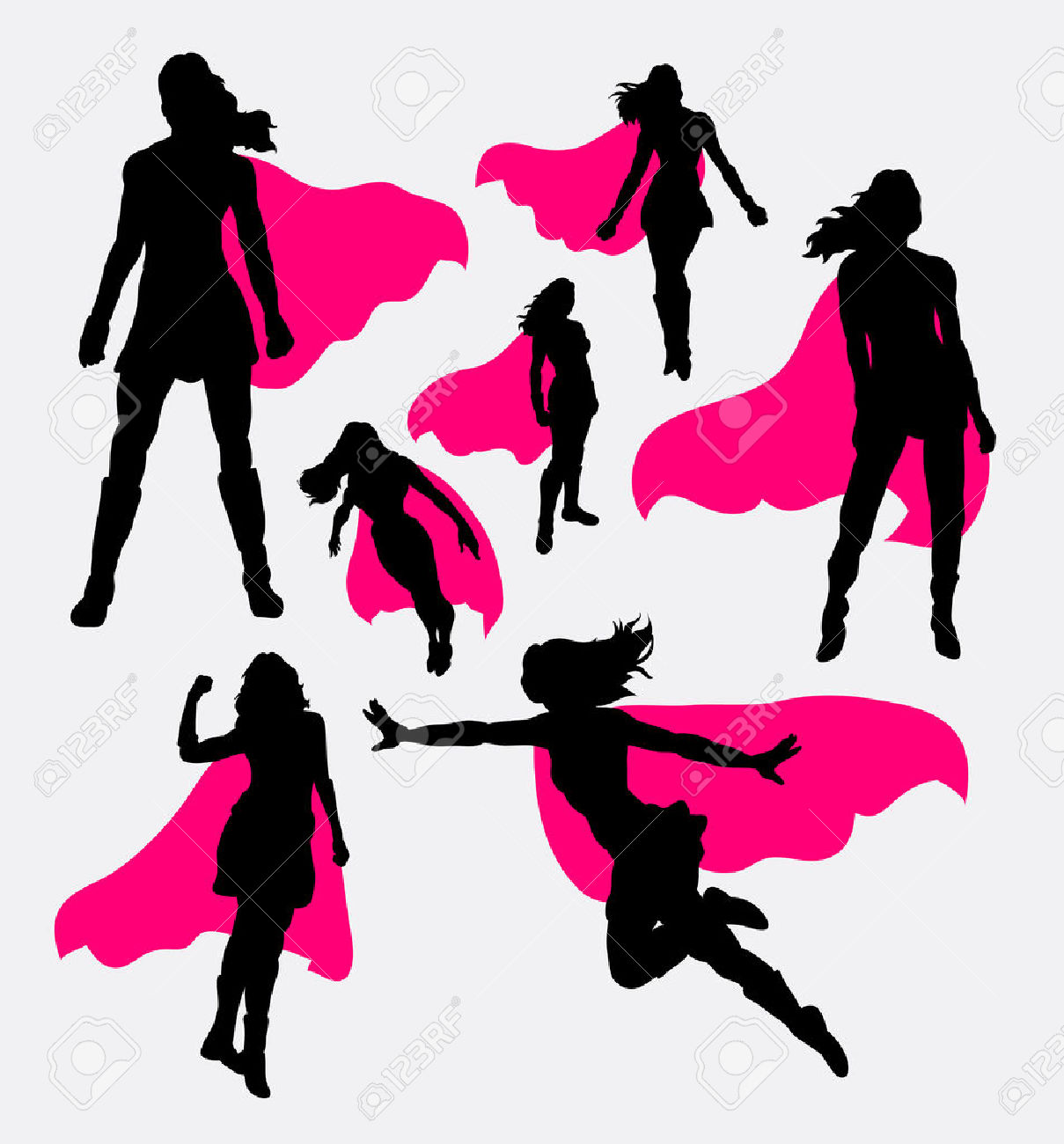 Female Superhero Silhouettes Royalty Free Cliparts, Vectors, And.