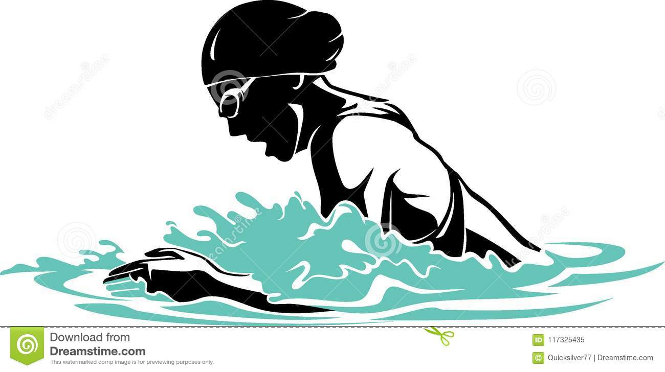 Breast Stroke Swimming stock vector. Illustration of hair.