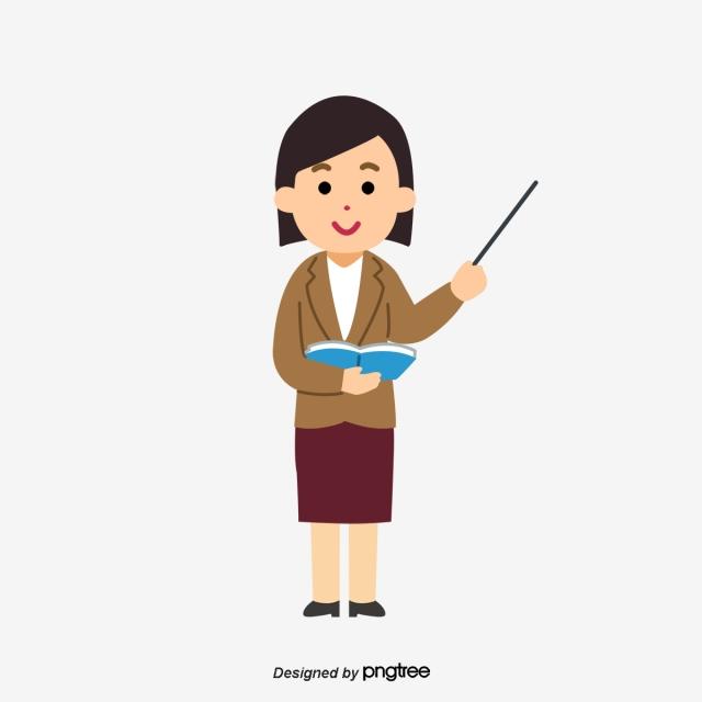 Female Teachers Of Cartoon Teaching, Cartoon, Female Teacher, Hand.