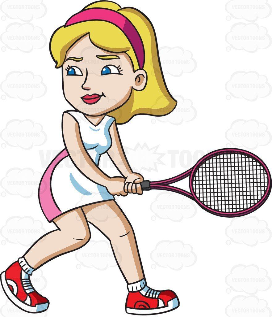 A female tennis player getting ready to hit a ball #cartoon.