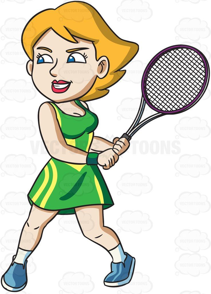 A female tennis player with a high level of energy #cartoon.