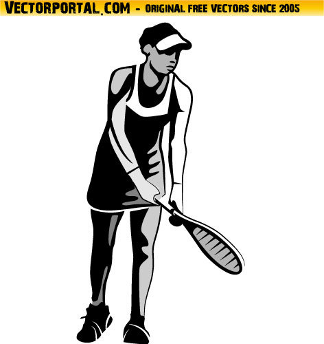 Female Tennis Player Clip Art.