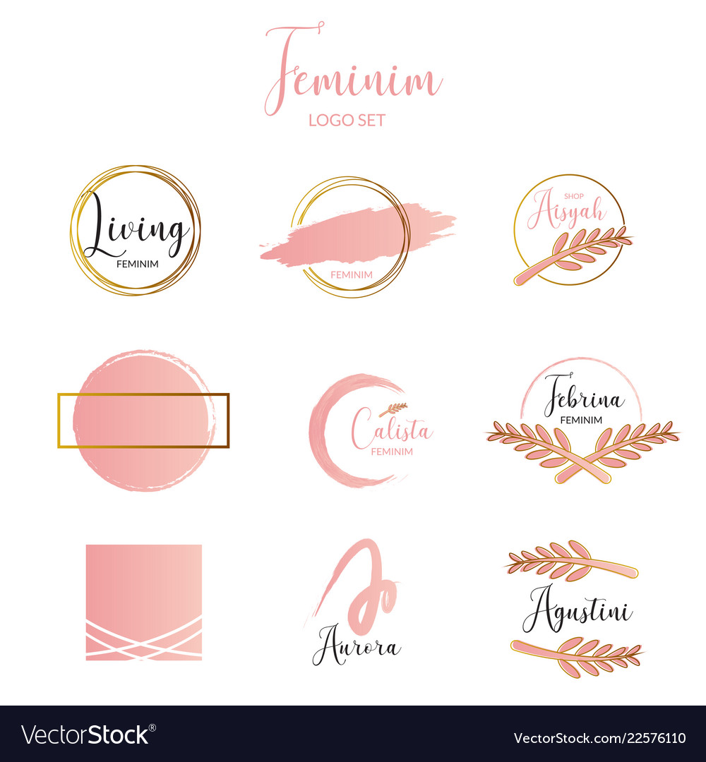 Feminine and minimalist logo template collection.