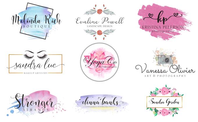 design beautiful watercolor or feminine logo.