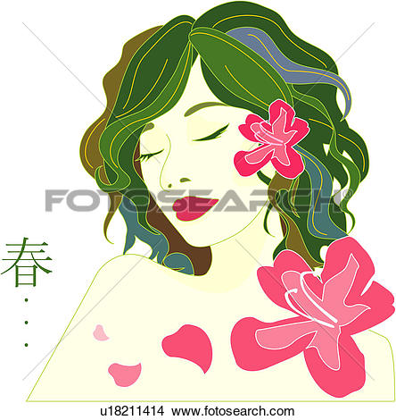 Drawings of one person, women, person, people, femininity, flower.