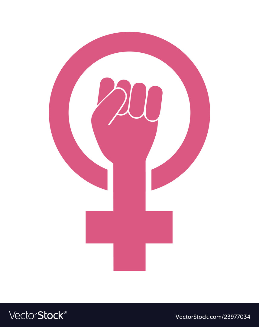 Female woman feminism protest hand icon.