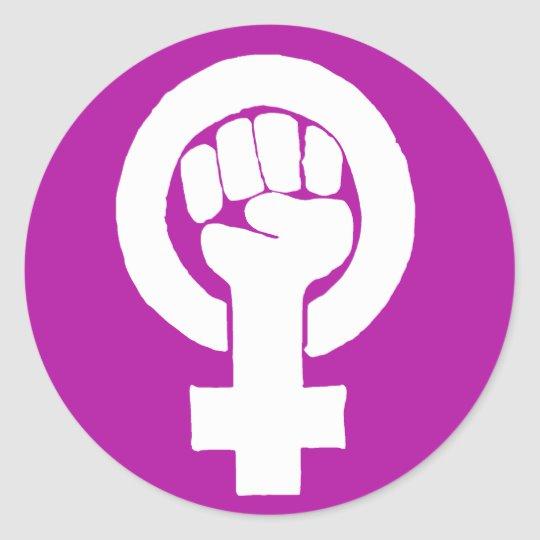 Logo, feminist / feminista, equality / igualidad: classic round sticker.