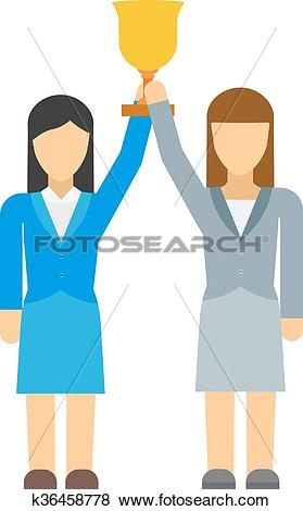 Clip Art of Vector flat icon of feminists women business community.