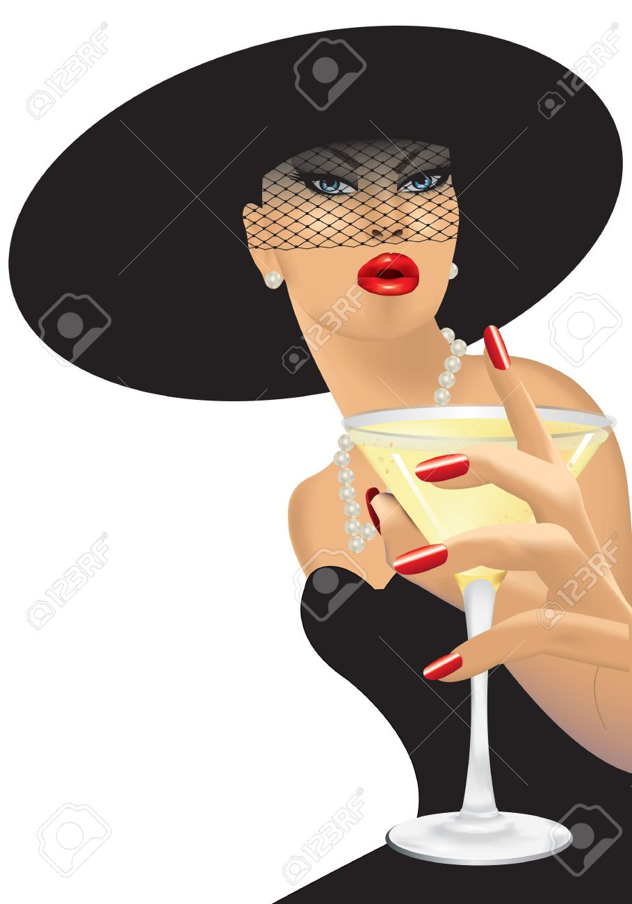 Femme Fatale With Black Hat Royalty Free Cliparts, Vectors, And.