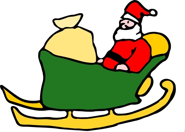 Fen Santa In His Sleigh clip art Free vector in Open office.