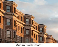 Stock Photography of Boston Brownstones stairs and fence.