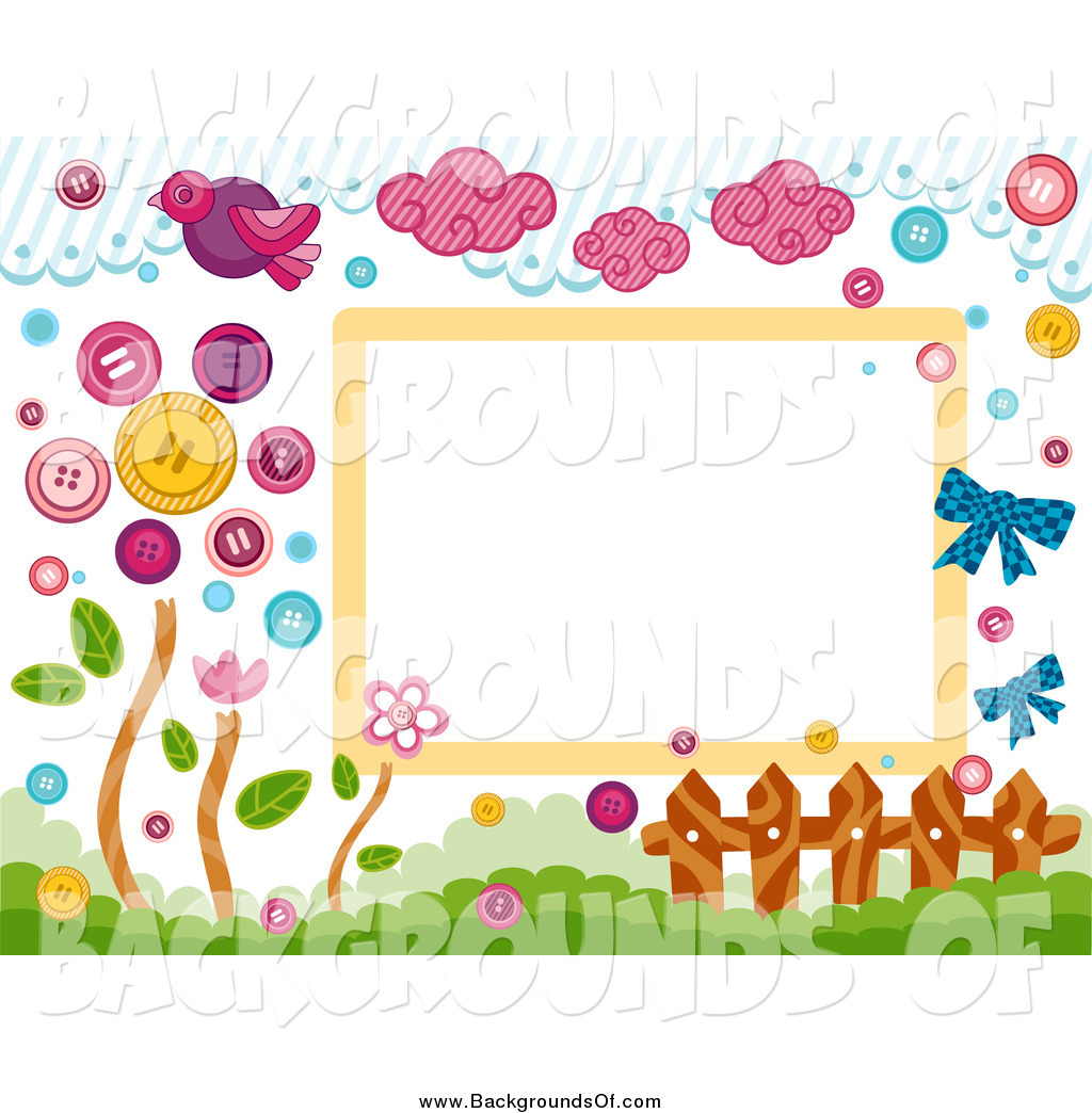Vector Clipart of a Border of Birds, Clouds, Buttons, a Fence and.