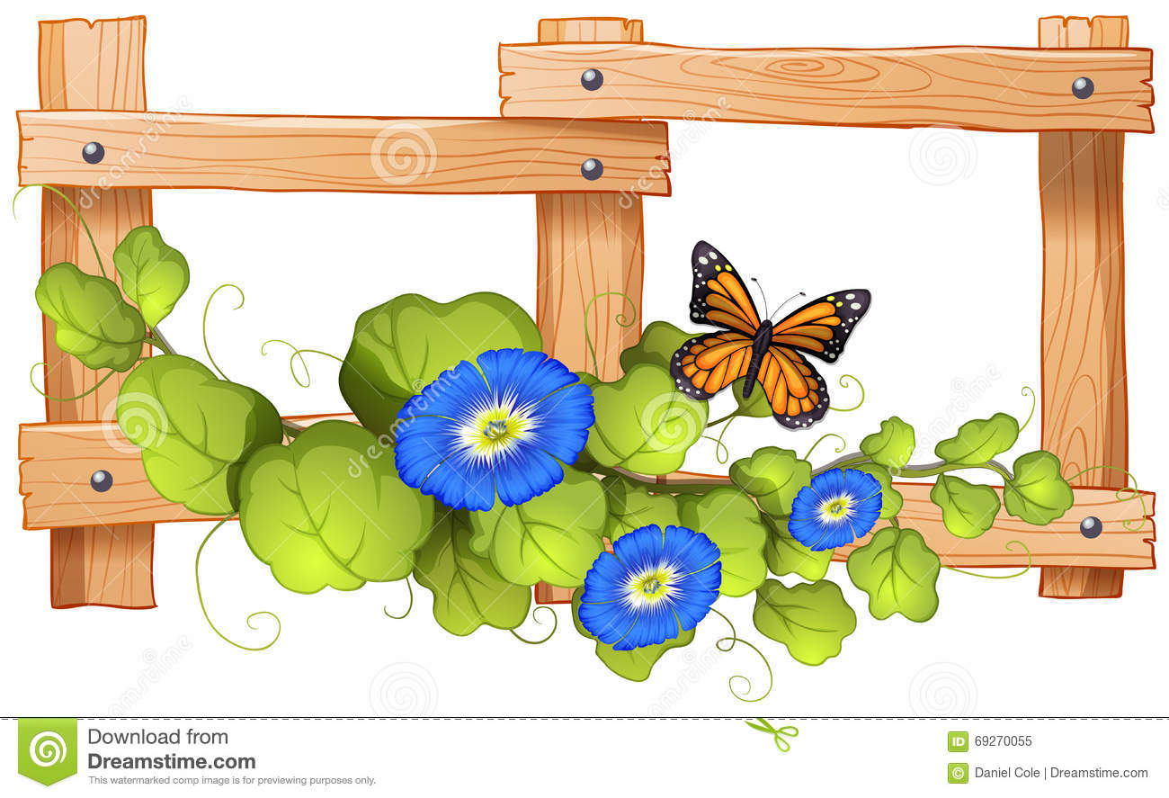 Fence Design With Plant And Butterfly Stock Vector.