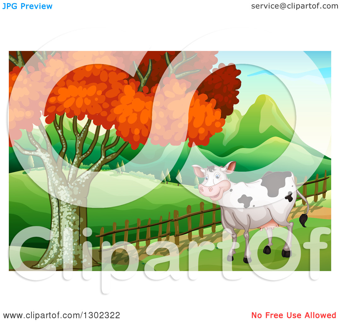 Clipart of a Happy Cow by a Fence Line and Autumn Tree with.