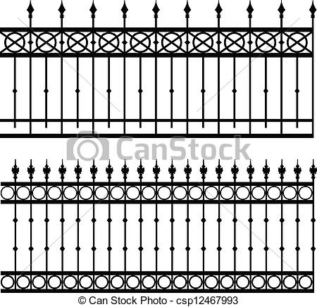 EPS Vectors of iron fence.