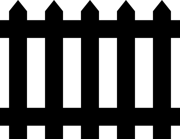 Halloween Fence Black White Clipart.