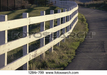 Stock Photograph of fence, road, rural, path, rails, pathway 1284r.