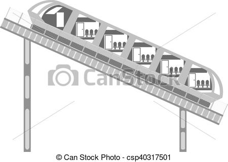 Vector Clipart of Funicular on the rails and fence on a white.