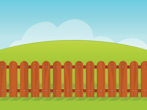 Wooden Slat Fence Cartoon Clip Art, Vector Images & Illustrations.