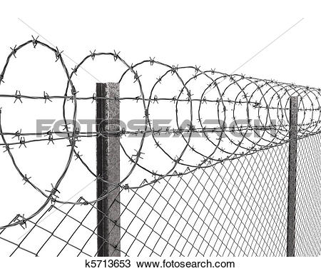 Drawing of Chainlink fence with barbed wire on top closeup.