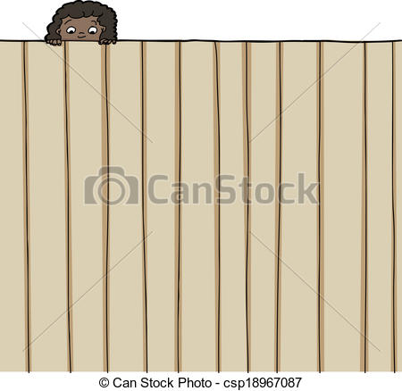 Vector of Girl Looking Over Fence.