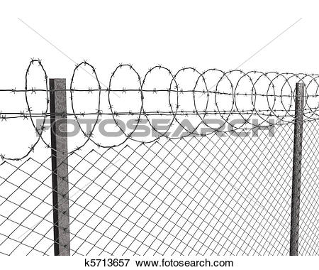 Stock Illustration of Chainlink fence with barbed wire on top.