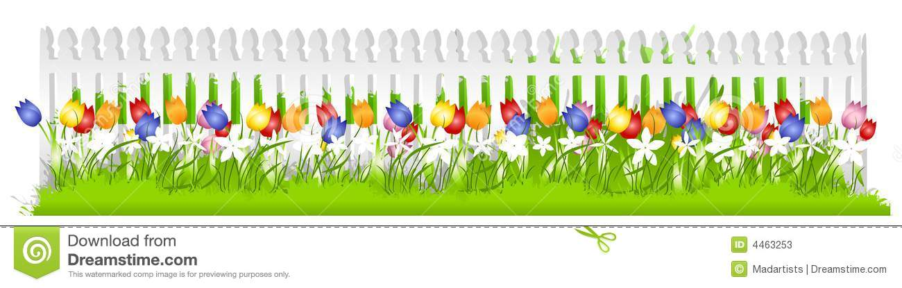 Picket Fence Border Clipart.