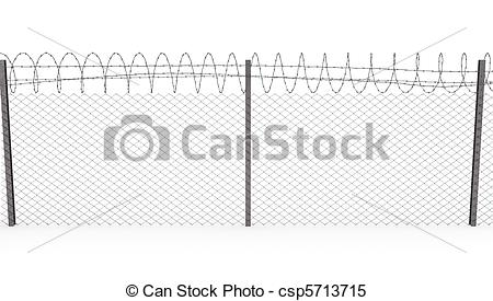 Stock Illustrations of Chainlink fence with barbed wire on top.