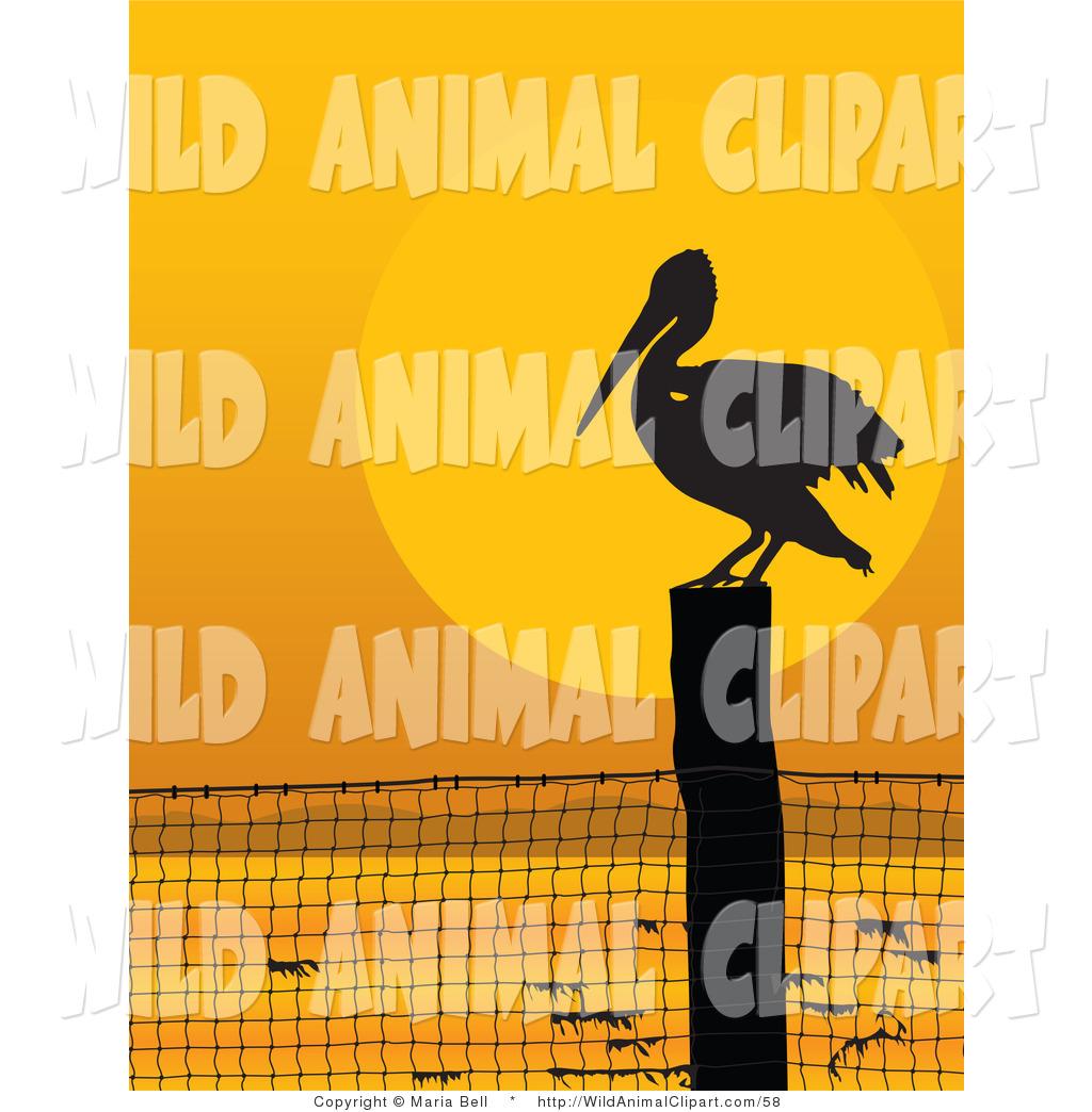 Clip Art of a Lone Pelican Bird on a Coastal Fence Post.