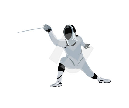Fencer Vector Clip Art.