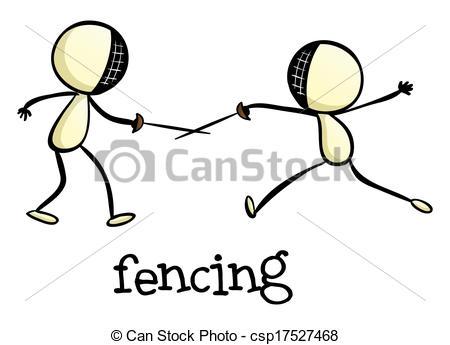 Clip Art Vector of Fencing activity.