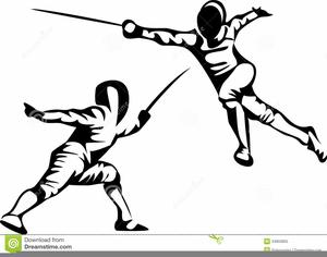 Foil Fencing Clipart.