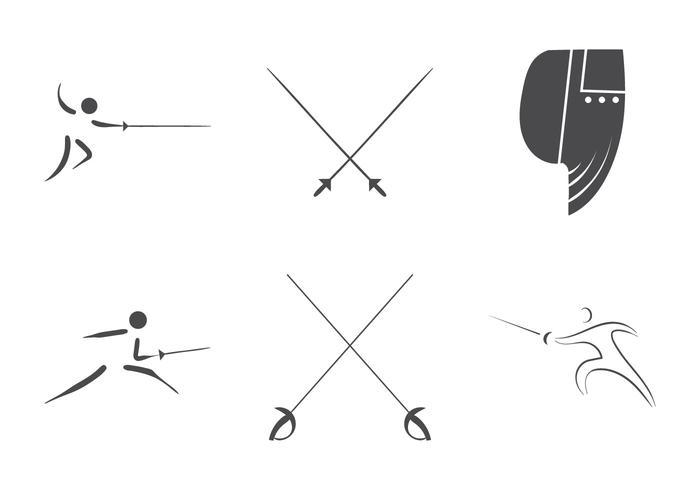 Fencing vector logo set.