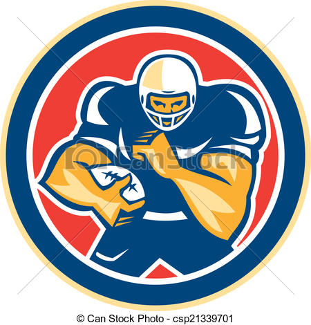 Vector Clipart of American Football Player Fend Off Circle Retro.